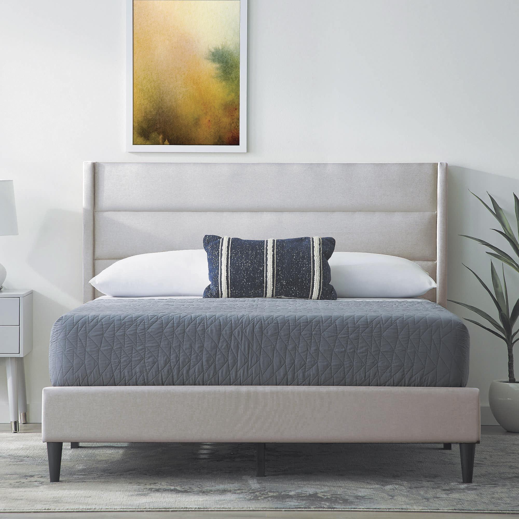 Light Gray 3pc King Platform Bed