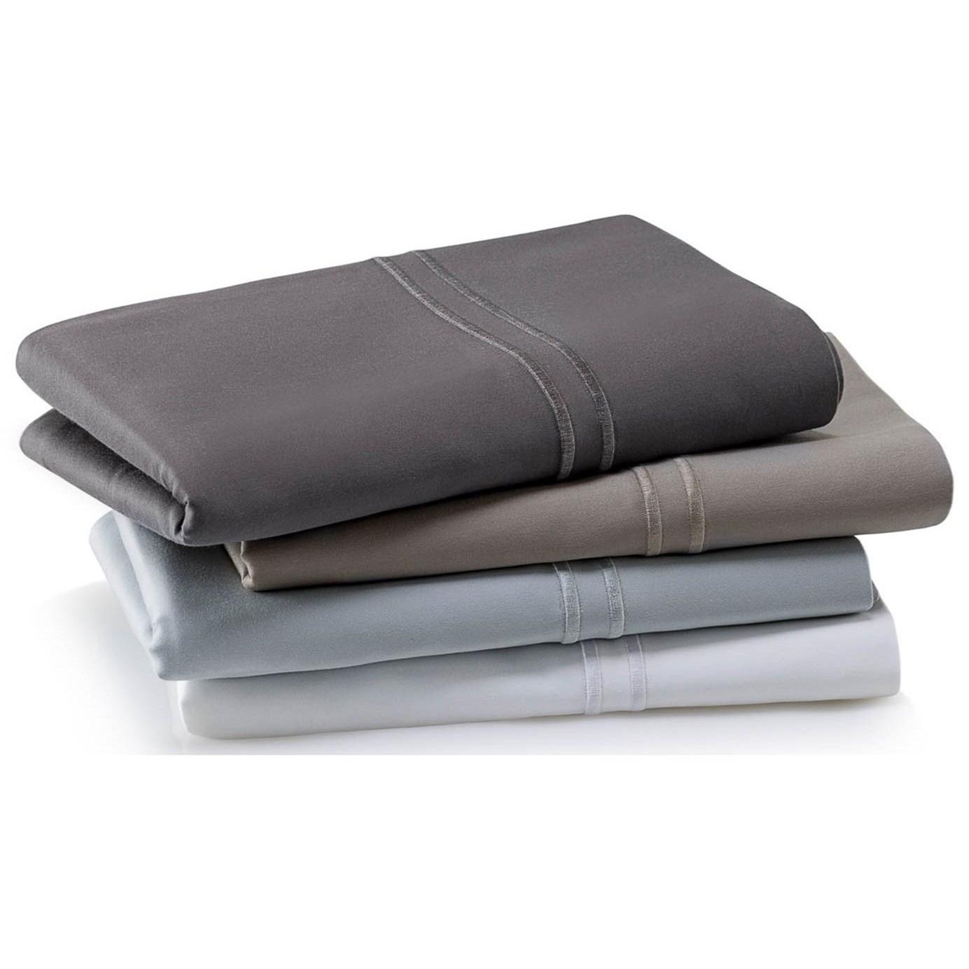 Supima Cotton White Split King Sheet Set by Malouf at SlumberWorld