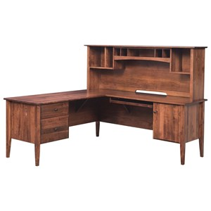 Transitional Solid Wood L-Corner Desk and Hutch