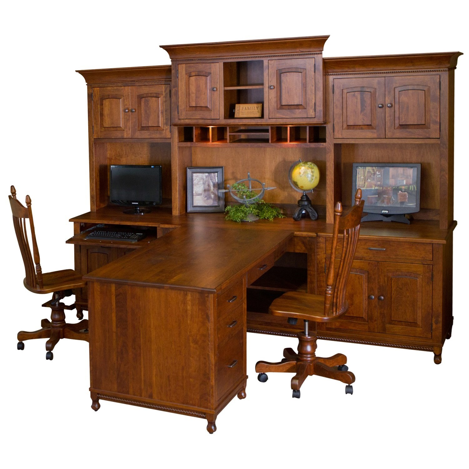 Henry Stephens Partner Desk by Maple Hill Woodworking at Saugerties Furniture Mart