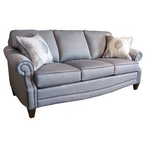 Transitional Apartment Sofa with Rolled Arms