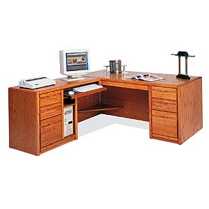kathy ireland Home by Martin Contemporary  L-Shaped Desk with Left Facing Return
