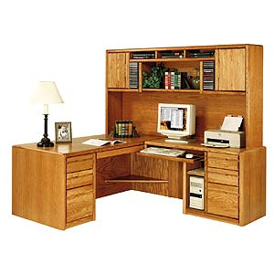 kathy ireland Home by Martin Contemporary  L-Shaped Desk & Hutch