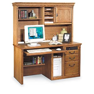kathy ireland Home by Martin Huntington Oxford Single Pedestal Desk & Hutch