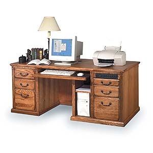 kathy ireland Home by Martin Huntington Oxford Double Pedestal Computer Desk