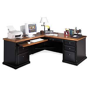 kathy ireland Home by Martin Southampton L-Shaped Executive Desk and Return