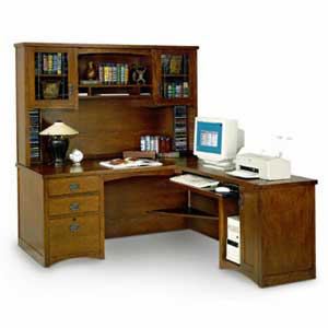 kathy ireland Home by Martin California Bungalow Executive Desk with Return and Hutch