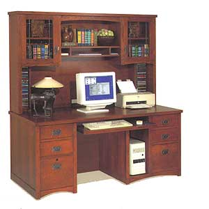 kathy ireland Home by Martin California Bungalow Deluxe Desk and Hutch