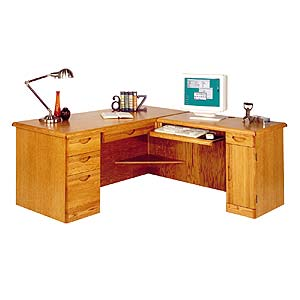 kathy ireland Home by Martin Waterfall L-Shaped Desk with Right Facing Return