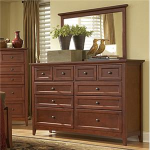 MasterCraft Simply Shaker 10-Drawer Dresser and Mirror