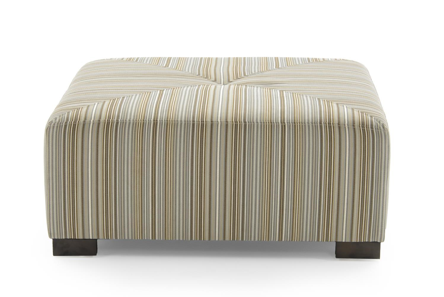 Square Cocktail Ottoman with Button Tuft and Stitched Top