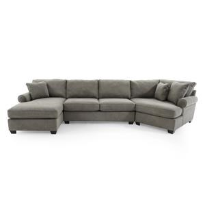 Casual Three Piece Sectional Sofa with Cuddler