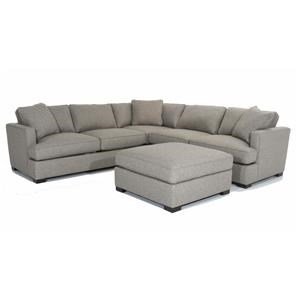 Modular Sectional Sofa with Bumper Ottoman