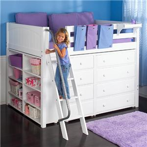 Full Size Loft Bed with Built-in Dressers and Shelves