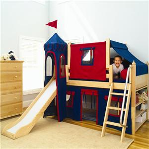 Twin Low Left Bed w/ Angle Ladder, Slide, & Fabrics