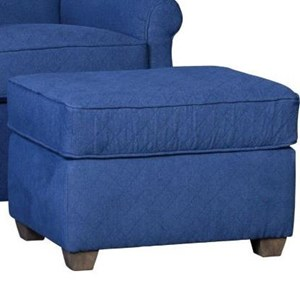 Casual Ottoman with Tapered Wood Feet