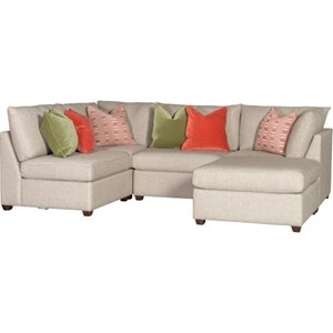 Casual Sectional with Ottoman and Six Throw Pillows