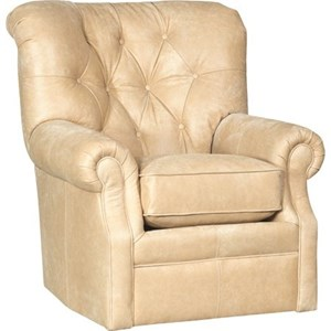 Transitional Swivel Chair with Button Tufting