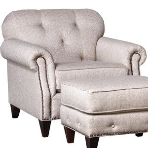 Transitional Tufted Chair with Nailhead Detail