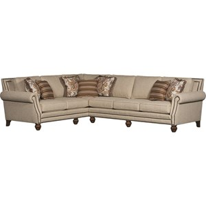 Traditional Sectional with Rolled Arms