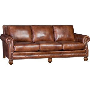 Traditional Sofa with Rolled Arms and Carved Wood Feet