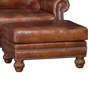 Traditional Ottoman with Carved Wood Feet