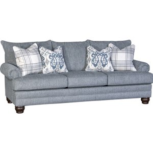 Traditional Sofa with Rolled Arms and Loose Pillow Back