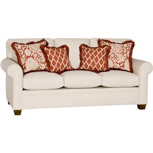 Transitional Sofa with Rolled Arms and Tapered Wood Feet