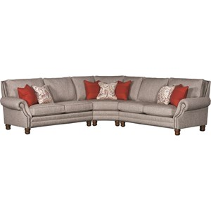 Traditional Sectional Sofa with Exposed Wood Feet and Nailhead Trim