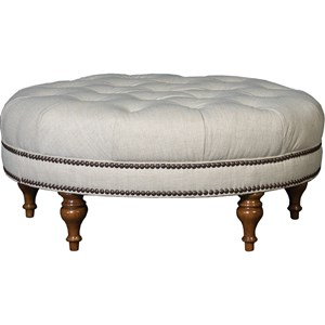 Traditional Table Ottoman with Turned Feet