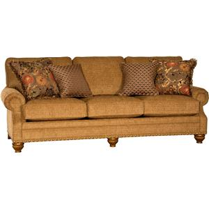 Traditional Sofa with Carved Wood Feet
