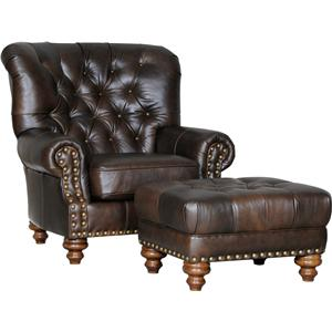 Traditional Chair and Ottoman with Tufted Seat and Back