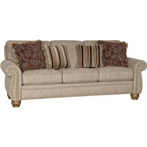 Traditional Stationary Sofa with Exposed Wood Spool Legs