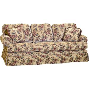 Stationary Sofa with Rolled Arms and Skirt