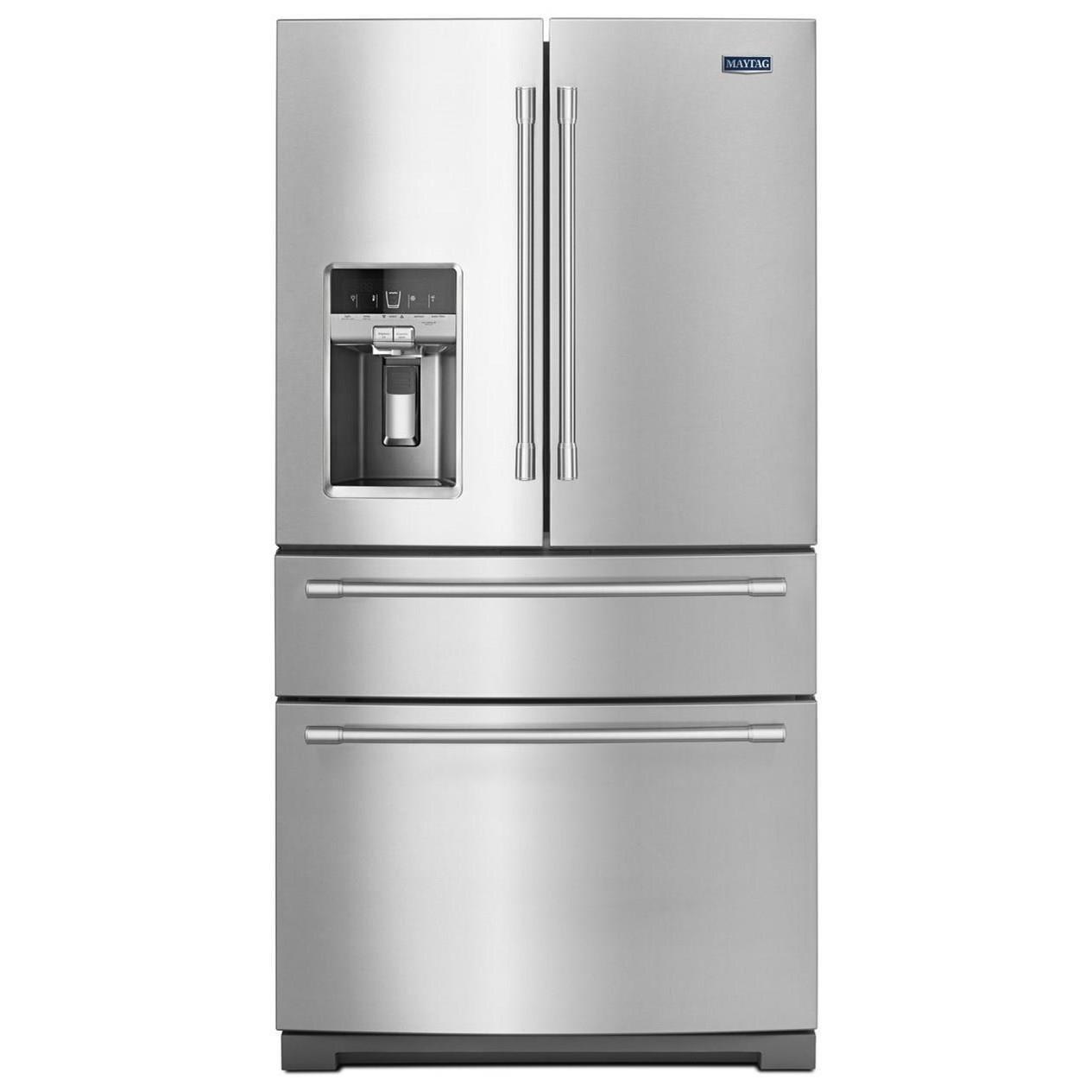 "Maytag French Door Refrigerators 36"" 26 Cu Ft 4-Door French Door Refrigerator by Maytag at Wilcox Furniture"