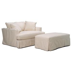 McCreary Modern 0778 Slipcover Chair and a Half and Ottoman Set