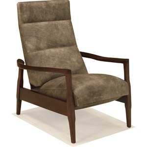 Leo Ash Leather Recliner with Wood Legs