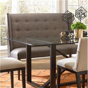 Upholstered Dining Settee with Tufted Wing Back