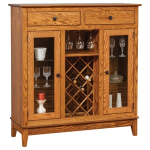 Transitional Wine Cabinet with Wine Bottle and Glass Storage