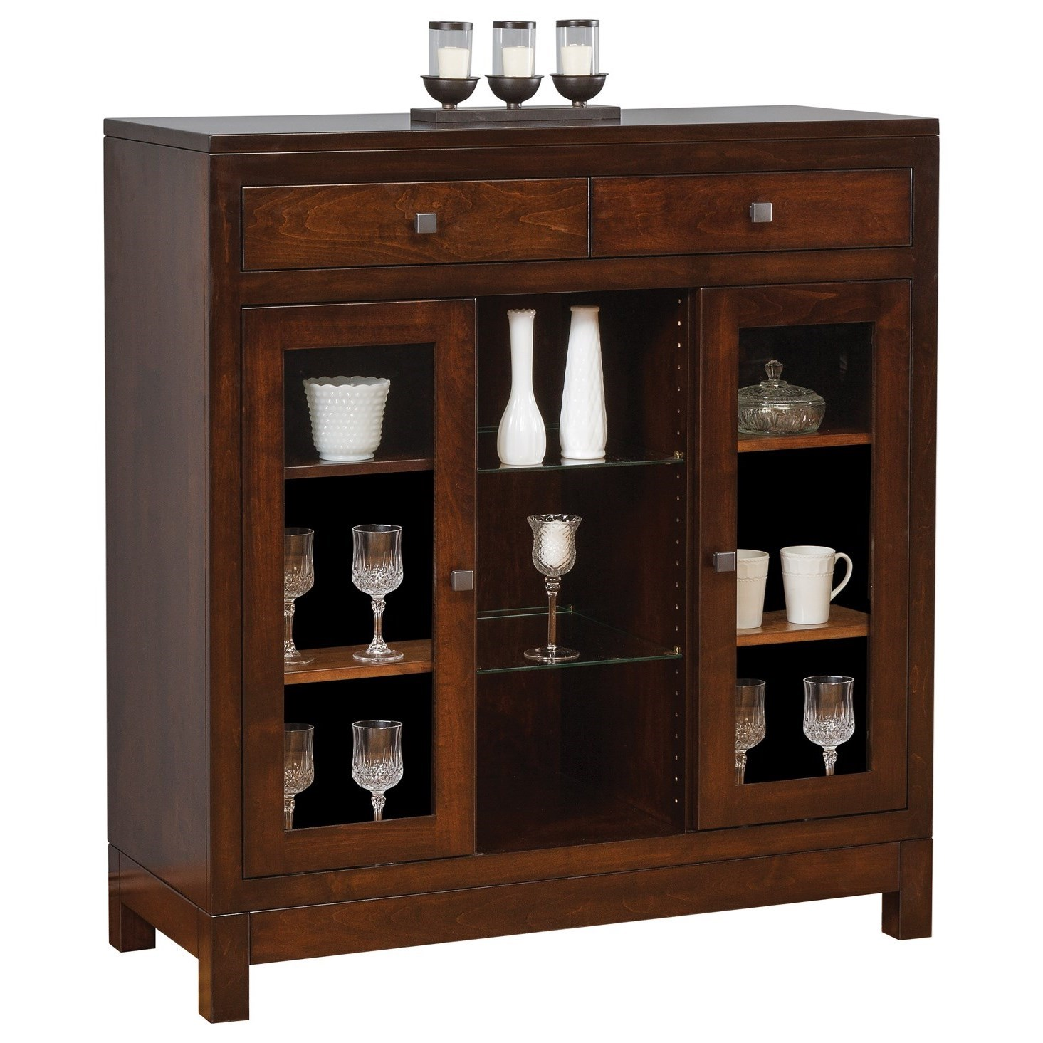Hampton Small China Cabinet by Meadow Lane Wood at Saugerties Furniture Mart