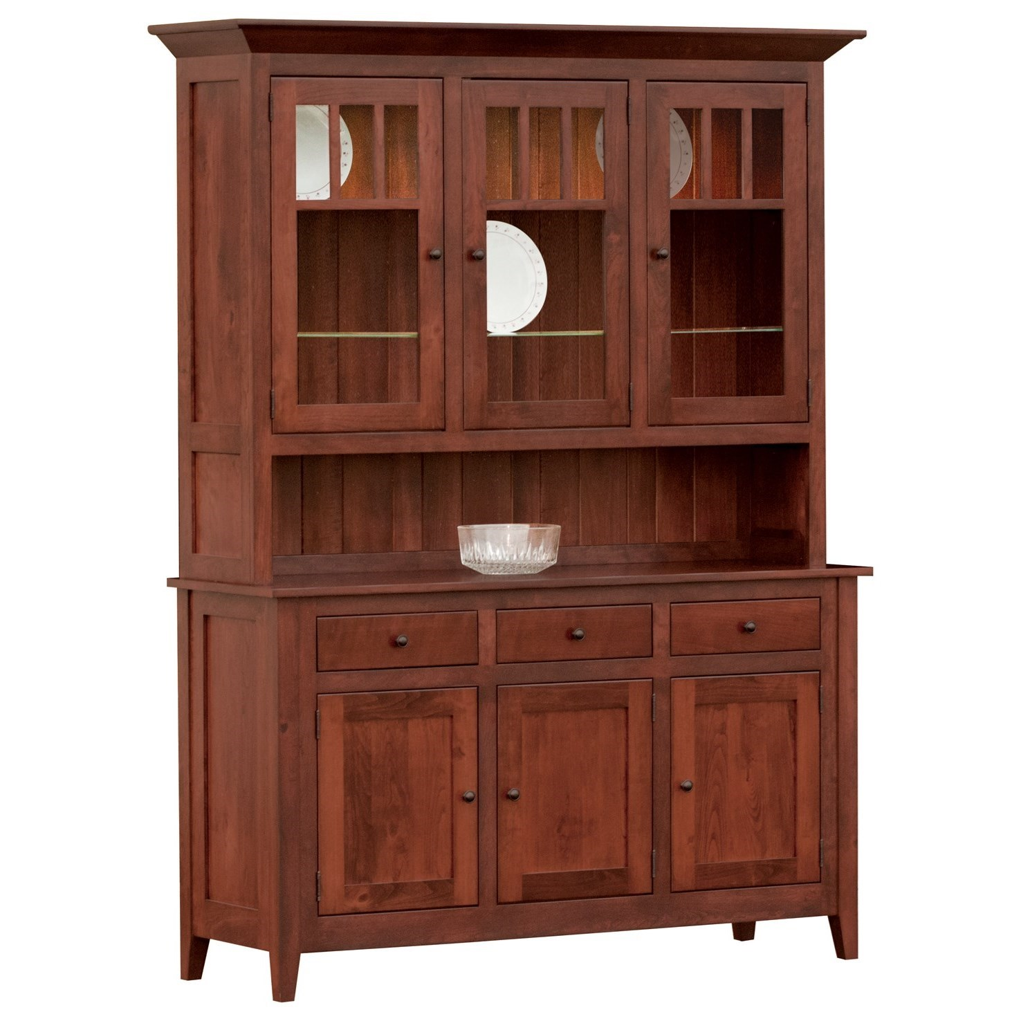 Larkspur Buffet with Hutch by Meadow Lane Wood at Saugerties Furniture Mart