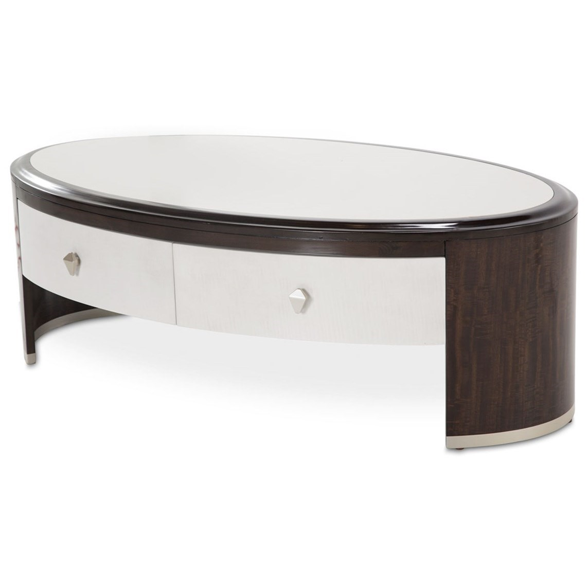 Paris Chic Oval Cocktail Table by Michael Amini at Darvin Furniture
