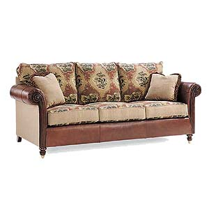 Leather and Fabric Upholstered Sofa