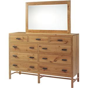 High 9-Drawer Dresser and Mirror Set with Dark Pull-Bar Handles
