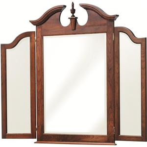 Dresser Tri-Mirror with Beveled Edge and Decorative Top Detailing