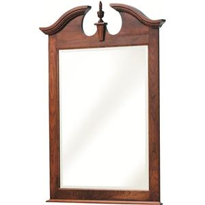 Dresser Mirror with Beveled Edge and Decorative Top Detailing