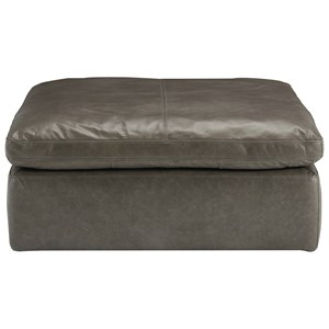 Distressed Leather Oversized Accent Ottoman