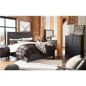 King Panel Bed with Storage, Dresser, Mirror, 2 Nightstands and Chest Package