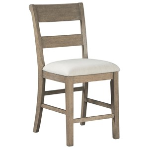 Contemporary Upholstered Barstool with Slat Back Styling