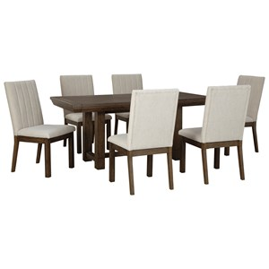 Casual 7-Piece Dining Set with Leaves